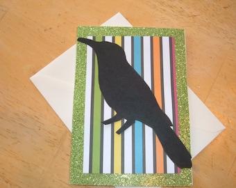Halloween Greeting Card, Happy Halloween Greeting Card, Black Crow Card, Black Crow Greeting Card