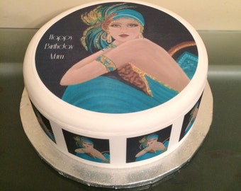 Art Deco 1920's Lady edible Icing, Frosting, Fondant cake topper, cupcake toppers &/Or edible ribbon for Birthday Cake 02