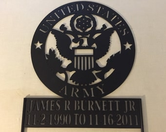 United States Army memorial piece with name and dates