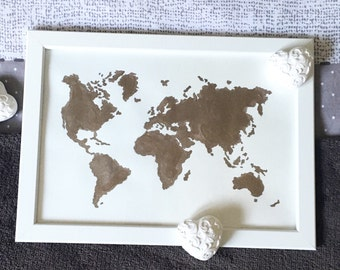 Table painting bronze/gold world map