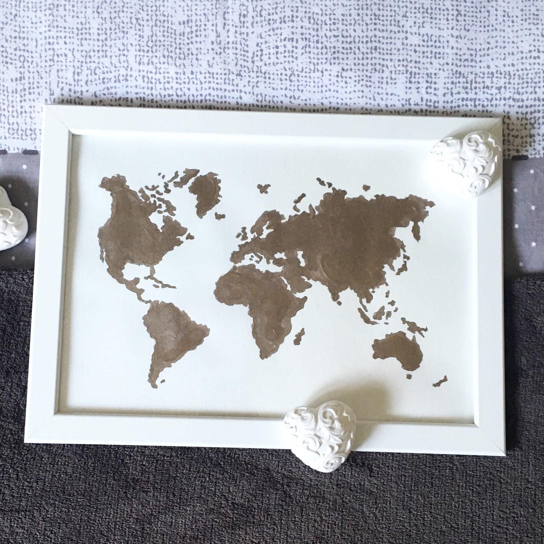 tableau carte du monde peinture bronze gold. Black Bedroom Furniture Sets. Home Design Ideas