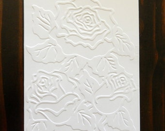 Roses Embossed Cardstock, Embossed Sheets, Embossed Card Fronts