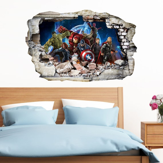Avengers In Wall Crack Superheroes Kids Boy By Istickydecal