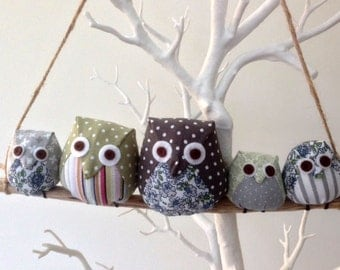 Owl family on a branch, 5 grey and green owls