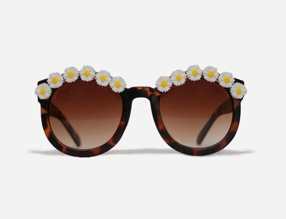 New York Tortoise Daisy Coachella Flower Sunglasses
