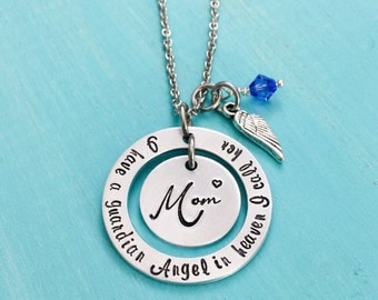 Mom Memorial Necklace-Loss of Mother Jewelry-Jewelry-Necklaces-Pendants-Hand Stamped Jewelry-Guardian Angel Necklace-Personalized Jewerly