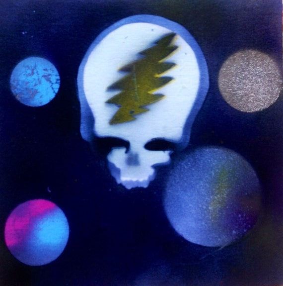 spray paint art grateful dead glow in the dark by beoneandcreate. Black Bedroom Furniture Sets. Home Design Ideas