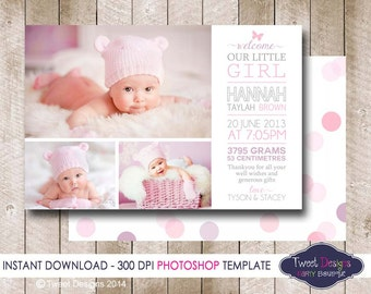 BIRTH ANNOUNCEMENT TEMPLATE, Photoshop Template, Photographer Template, Girl Birth Announcement, Chalkboard Baby Thank you, Commercial use