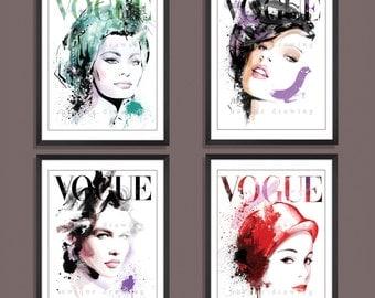 Fashion Illustration, Fashion art print, fashion wall art, Vogue poster, Vogue print, Vogue cover, Vogue wall art, Set of 4 prints, 3273
