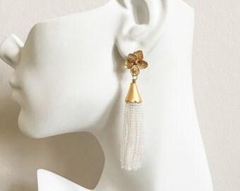 Tassel Earrings - Crystal Tassel Earrings - Bohemian Tassel Earrings - Flower and Crystal Beaded Tassel Earrings - Short Fringe Earrings