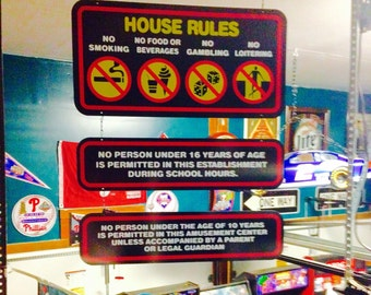 Reproduction Time Out Arcade House Rules Signs