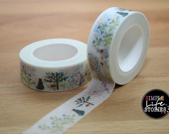 Washi tape cats trees flower black color