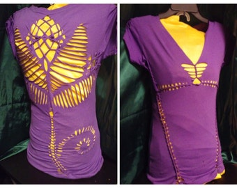 LAST CHANCE SALE Lotus flower slashed purple cut up tshirt refashioned weaved tee