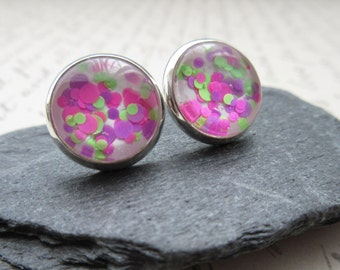 Pink Green Glitter Earrings Post Stud Button Silver Posts Casual Handmade Painted Minimalist Casual Everyday Jewelry Foxglove