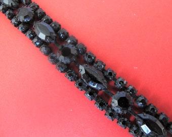 Superb Art Deco Black French Jet Stones Bracelet