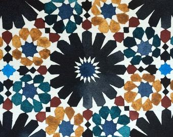 "Modern and original watercolor ""Azulejos"", Andalusia inspiration, original painting"