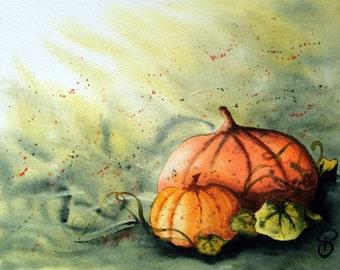 "Modern Watercolor ""Pumpkins"" original painting of pumpkins"