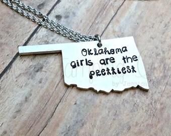Oklahoma | Oklahoma Necklace | Oklahoma Gifts | State Necklace | State Pride | Pretty Girl | Oklahoma State | Oklahoma Girl | State Jewelry