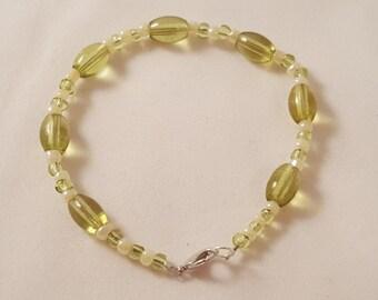 Pale Green Glass Bead & Cream Seed Bead Bracelet - Beaded Bracelet - Green Bracelet - Green Jewelry - Green - Women's Bracelet - Green Beads