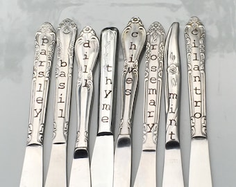 Herb Markers, Set of 8, Made from Repurposed Silverware, Floral Design