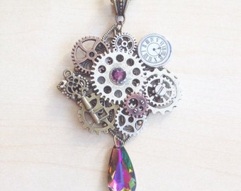 Steampunk necklace with gears and cogs, and purple Swarovski crystal
