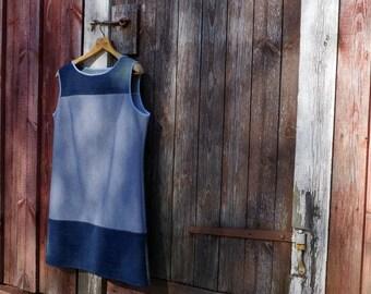 Sleeveless Dress Upcycled Blue Striped Jersey Dark Denim Buttoned Back Sustainable Fashion