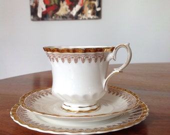 Vintage Queen Anne 'Tiara' bone china tea cup trio