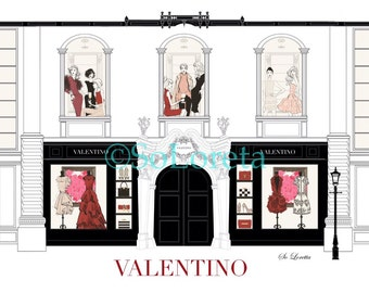 Valentino illustration, valentino art, fashion art illustration