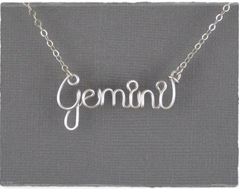 Gemini Astrology Sign Wire Word Pendant Necklace