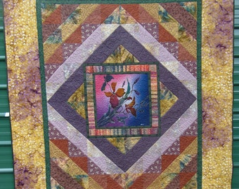 Handmade Batik Panel Quilt, Full/Queen Quilt, Large Wall Hanging