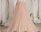 Blush Cap Sleeve Illusion Neckline Backless Lace Tulle Wedding Dresss, Blush Pink Beaded Lace Wedding Dress, Blush Beach Wedding Dress W510