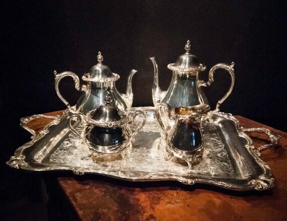 Five Piece Rochelle Silver Plate Holloware Tea Set