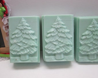 Large handmade bar of buttermilk soap with Pine tree design and fragrance- holiday soap, fabulous Balsam Cedar fragrance for use all year