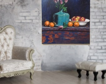 Original painting acrylic painting still life painting apples oranges blue/green vase roses 36x36 inch stretched canvas