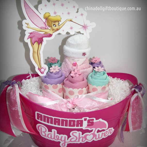 Etsy Australia Baby Gifts : Items similar to tinkerbell baby shower gift basket small