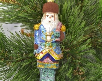 Vintage Figural Old World Santa Glass Christmas Ornament With Frosting