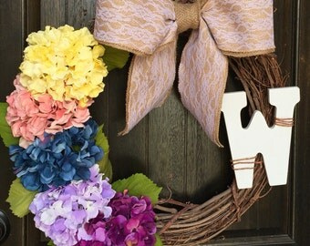 Large Grapevine Wreath, Hydrangea Wreath, Monogram Hydrangea Wreath, Spring Wreath