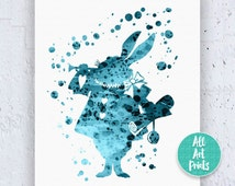 25% OFF: White Rabbit Alice in Wonderland Decorations Disney Print Watercolor Printable Art Disney Nursery Watercolor Disney Instant Downloa