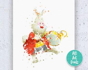 White Rabbit Print Alice in Wonderland Decorations Disney Print Watercolor Printable White Rabbit Print White Rabbit Art Instant Download