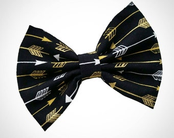 Black and Gold Arrow Aztec inspired fabric hair bow. Kate's Bows
