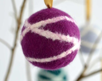Felted Christmas bauble ornament - handmade scandinavian style wool tree decoration in purple