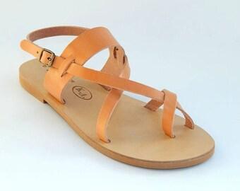 Greek Leather Sandals (39 - Burgundy red)