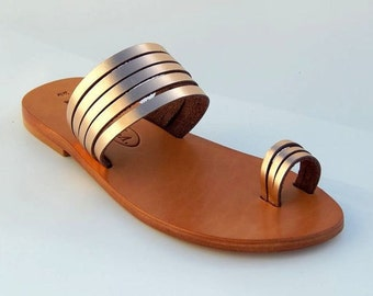 Greek Leather sandals (41 - Silver)