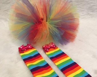 Handmade baby girl rainbow tutu with leg warmers 9 - 24 months photo prop