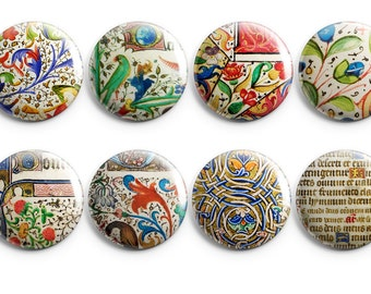 8 Medieval text buttons - vintage Script, Middle Ages, Books, Illuminated book, manuscripts