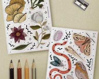 Flora & Fauna stickers set - 2 sheets