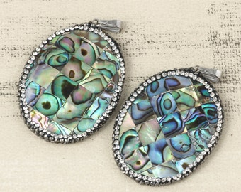 3pcs Goth Necklace Colorful Shell Pendant Pave Rhinestone Piece Shell Necklace Charm Shell Jewelry Gift For Her Unique Jewelry Making DIY