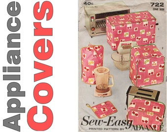 Appliance Covers, Advance 722, Sewing Pattern, Blender Cover, Toaster Cover, Kitchen Decor, Oven Mitt Pattern,Mixer Cover,Toaster Oven Cover