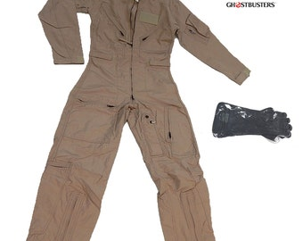 Original Ghostbusters Style Coveralls & Chemical Gloves Costume Size 34R or 40L