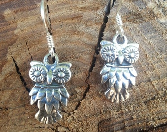 Owl Earrings* Sterling Silver* Dangle* Gift for Her* Silver Earrings* Owl* Jewelry* Holiday Gift* Animal